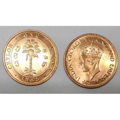 CEYLON 1 Cent 1945