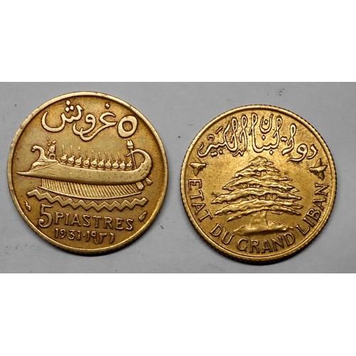 LEBANON 5 Piastres 1931