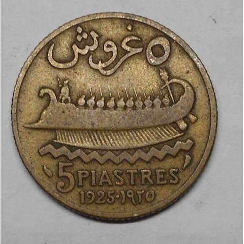 LEBANON 5 Piastres 1925