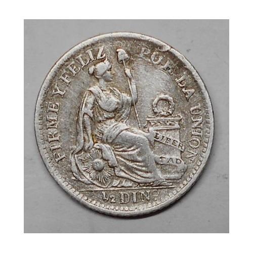 PERU 1/2 Dinero 1913FG AG
