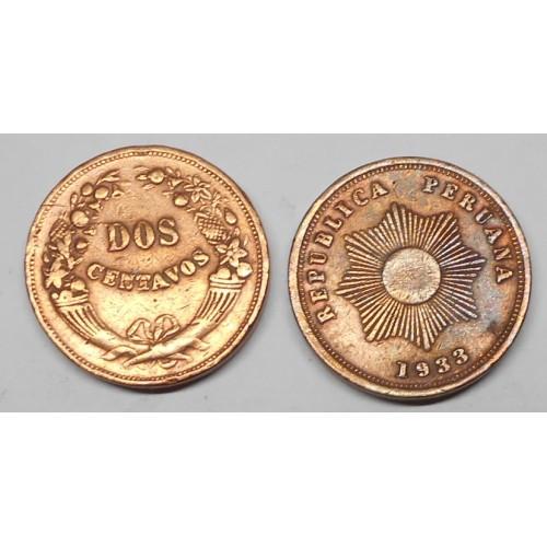 PERU 2 Centavos 1933