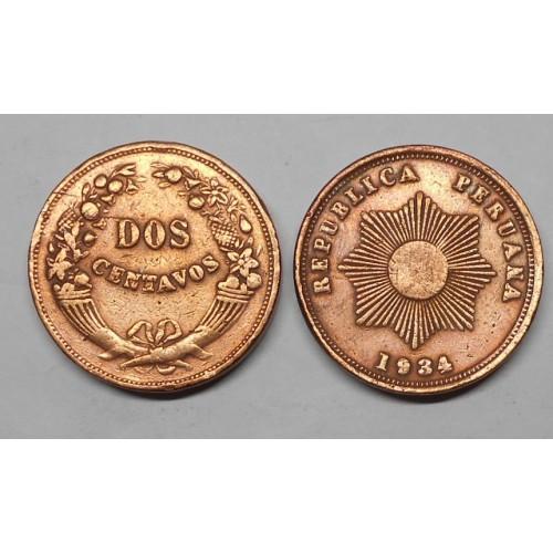 PERU 2 Centavos 1934