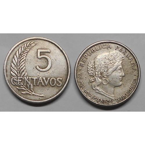 PERU 5 Centavos 1934