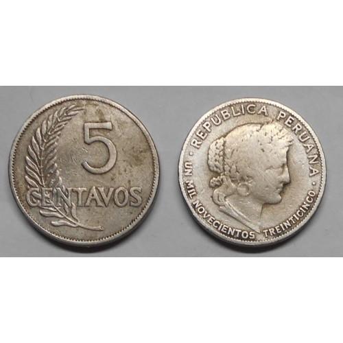 PERU 5 Centavos 1935