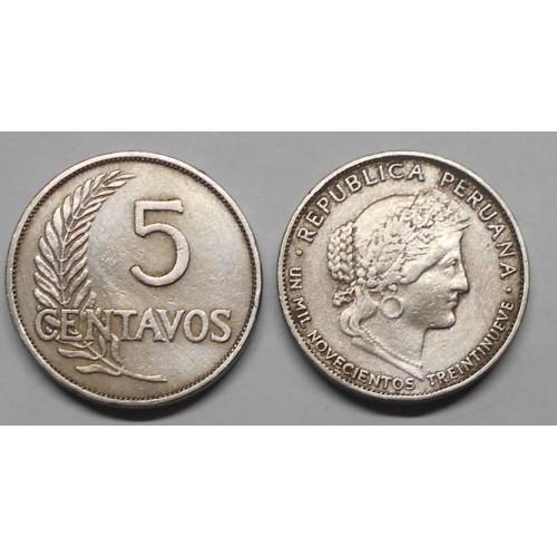 PERU 5 Centavos 1939