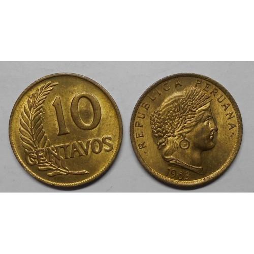 PERU 10 Centavos 1963