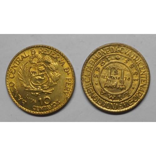 PERU 10 Centavos 1965 Ann....