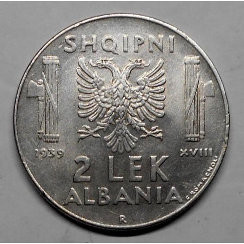 ALBANIA 2 Lek 1939 A.M.