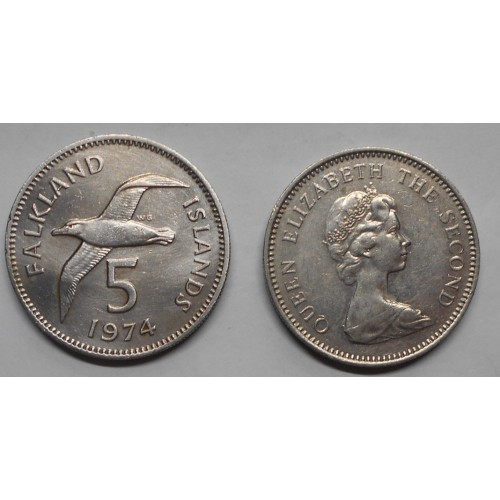 FALKLAND ISLANDS 5 Pence 1974