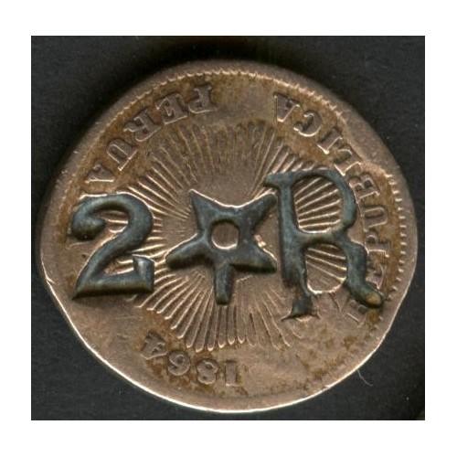 PERU 1 Centavo 1864 Counter...