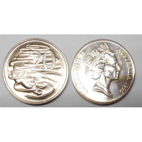 AUSTRALIA 20 Cents 1995 rare