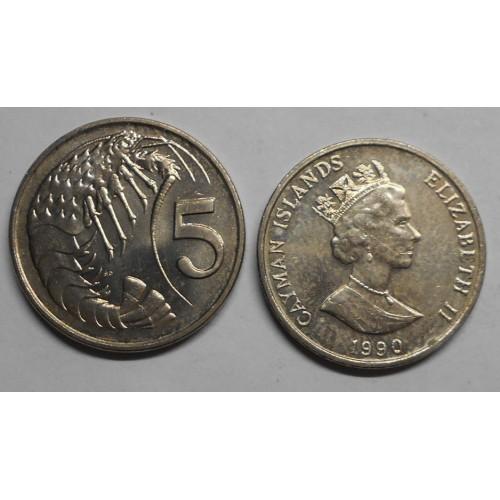 CAYMAN ISLANDS 5 Cents 1990