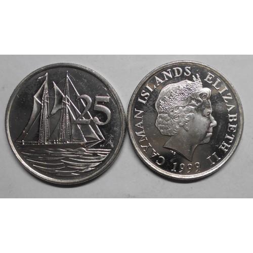 CAYMAN ISLANDS 25 Cents 1999