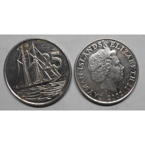CAYMAN ISLANDS 25 Cents 2002
