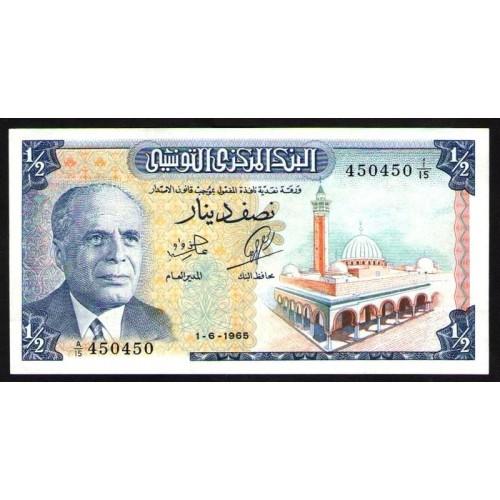 TUNISIA 1/2 Dinar 1965