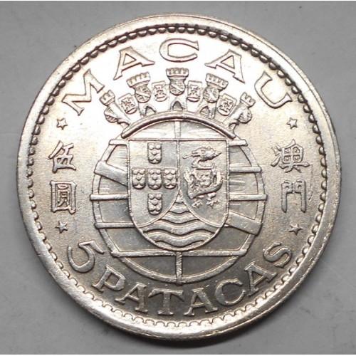 MACAO 5 Patacas 1952 AG