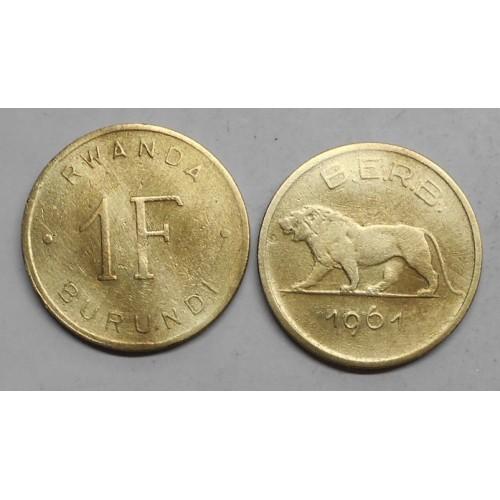 RWANDA BURUNDI 1 Franc 1961