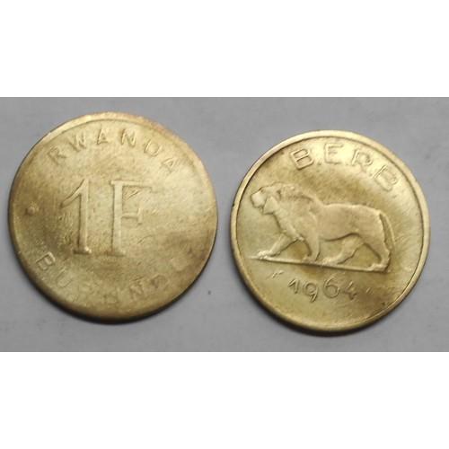 RWANDA BURUNDI 1 Franc 1964
