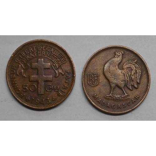 MADAGASCAR 50 Centimes 1943...