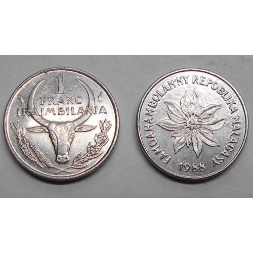 MADAGASCAR 1 Franc 1988