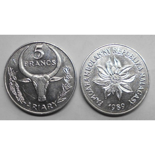 MADAGASCAR 5 Francs 1989