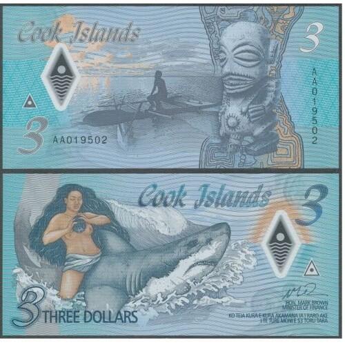 COOK ISLANDS 3 Dollars 2021...