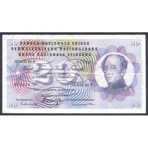 SWITZERLAND 20 Franken 1972