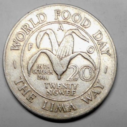 Zambia 20 ngwee 1981 World...