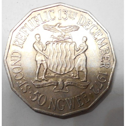 ZAMBIA 50 Ngwee 1972 Second...