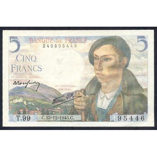 FRANCE 5 Francs 23.12.1943