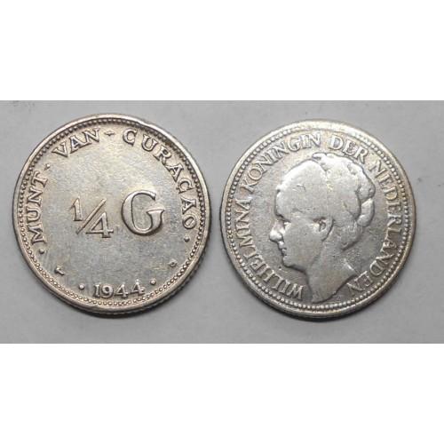 CURACAO 1/4 Gulden 1944 AG