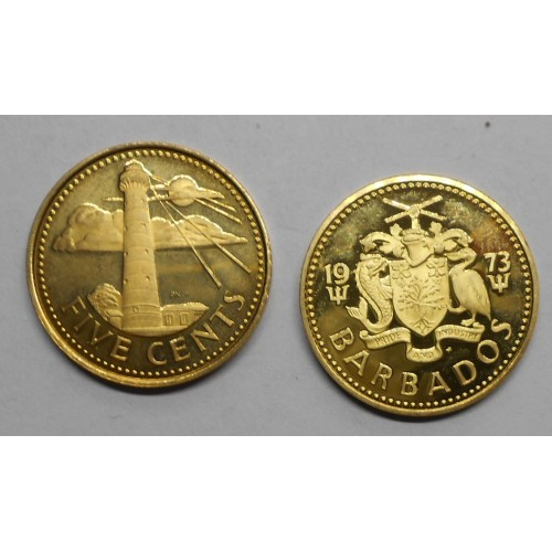 BARBADOS 5 Cents 1973 Proof