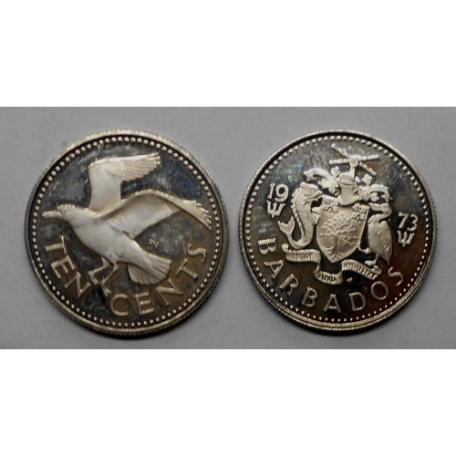 BARBADOS 10 Cents 1973 Proof