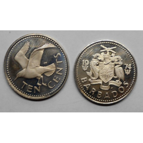 BARBADOS 10 Cents 1974 Proof