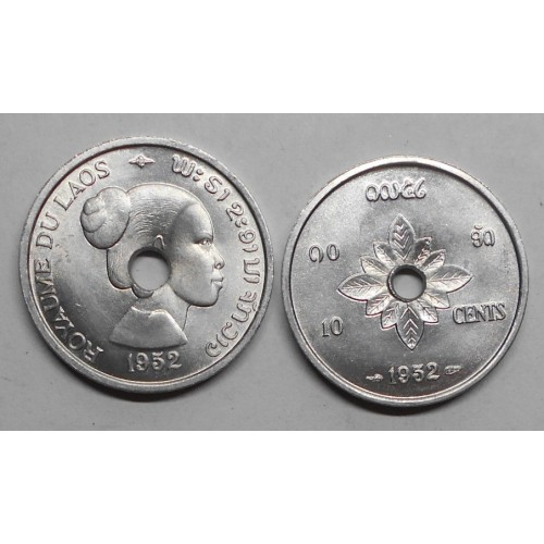 LAOS 10 Cents 1952
