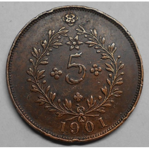 AZORES 5 Reis 1901