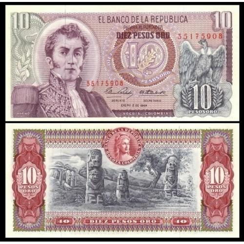 COLOMBIA 10 Pesos Oro 1969