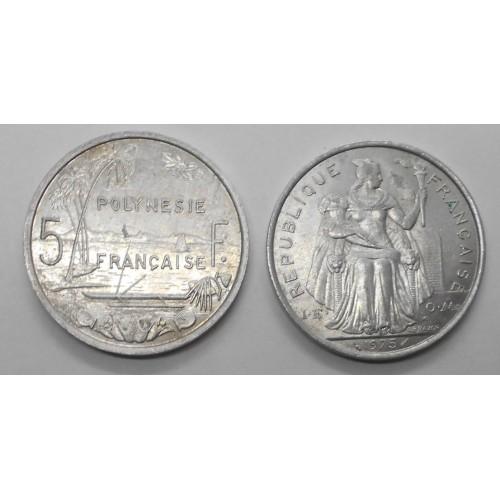 FRENCH POLYNESIA 5 Francs 1975