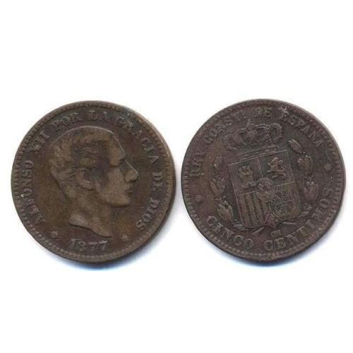 SPAIN 5 Centimos 1877...