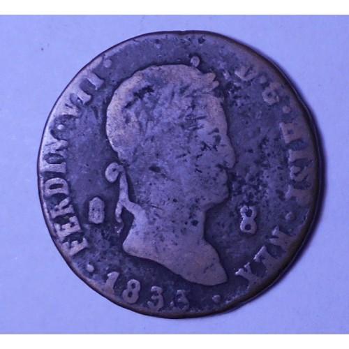 SPAIN 8 Maravedis 1833...
