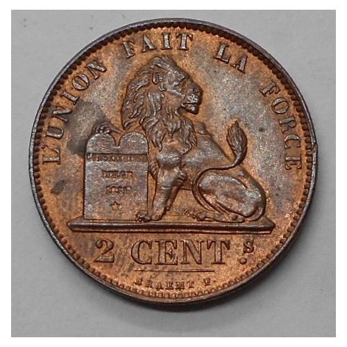 BELGIUM 2 Centimes 1873