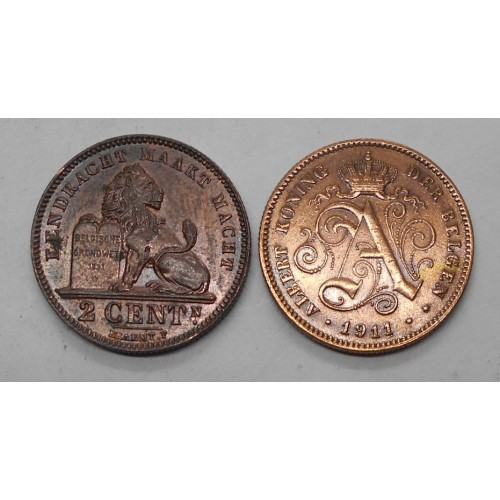 BELGIUM 2 Centimes 1911 Der...