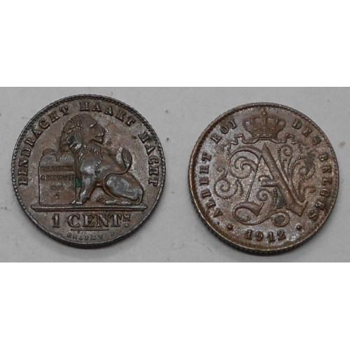BELGIUM 1 Centime 1912 Des...