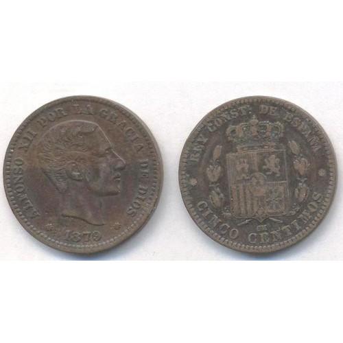 SPAIN 5 Centimos 1879...