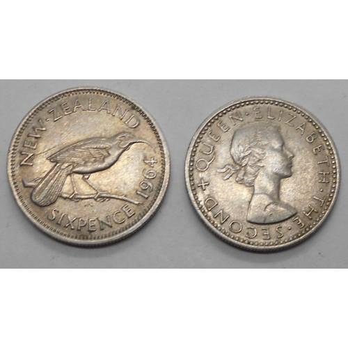 NEW ZEALAND 6 Pence 1964