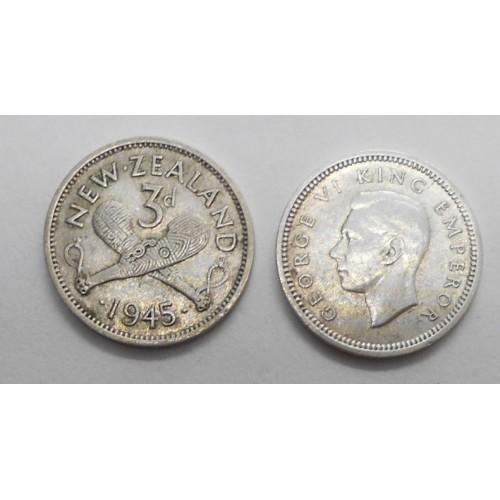 NEW ZEALAND 3 Pence 1943 AG