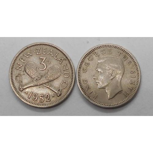 NEW ZEALAND 3 Pence 1952