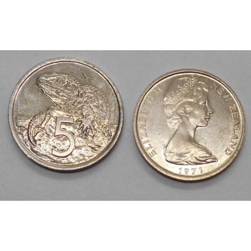 NEW ZEALAND 5 Cents 1971