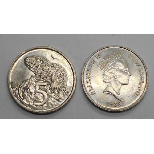 NEW ZEALAND 5 Cents 1988