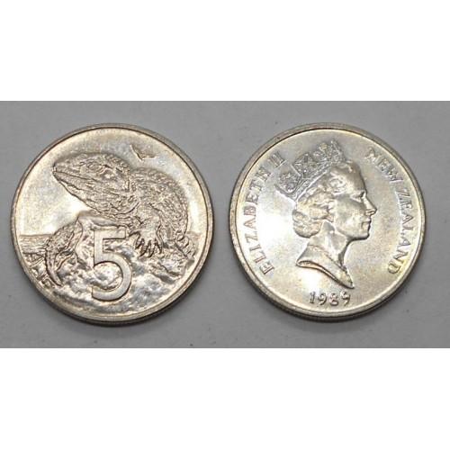 NEW ZEALAND 5 Cents 1989